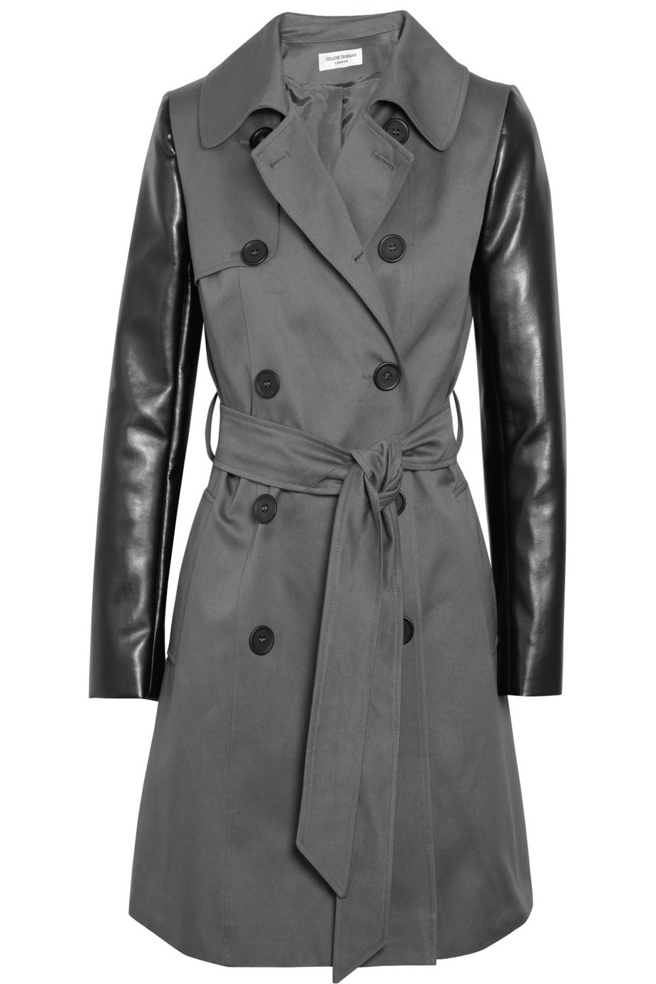Leather sleeves trench for woman