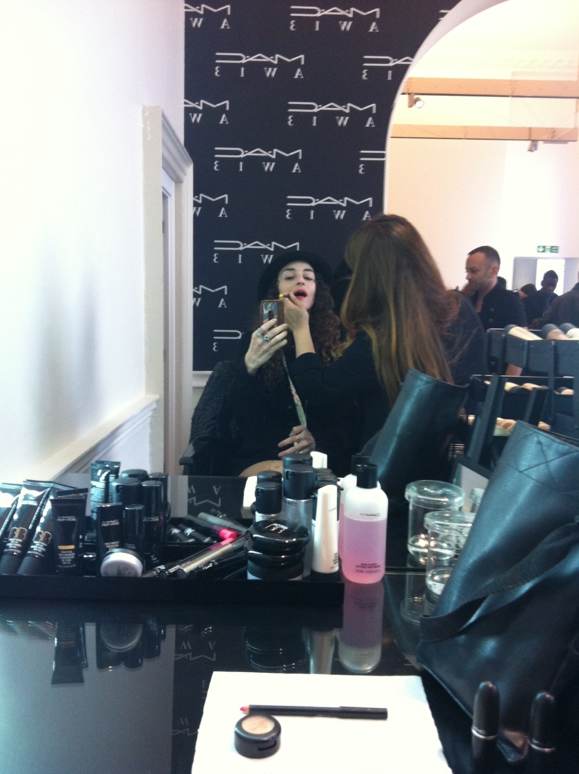 Make-Up session at MAC in London Fashion Week AW13