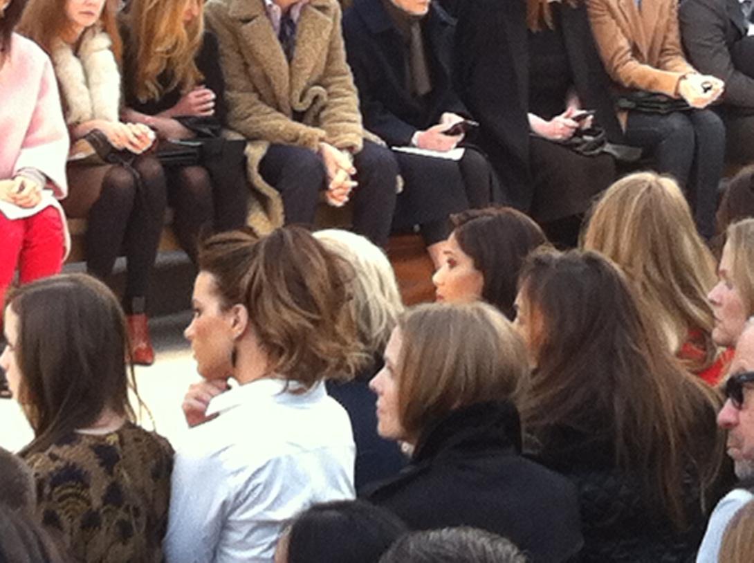 Kate Beckinsale (left) & Freida Pinto (right) - Burberry Prorsum AW Catwalk Show