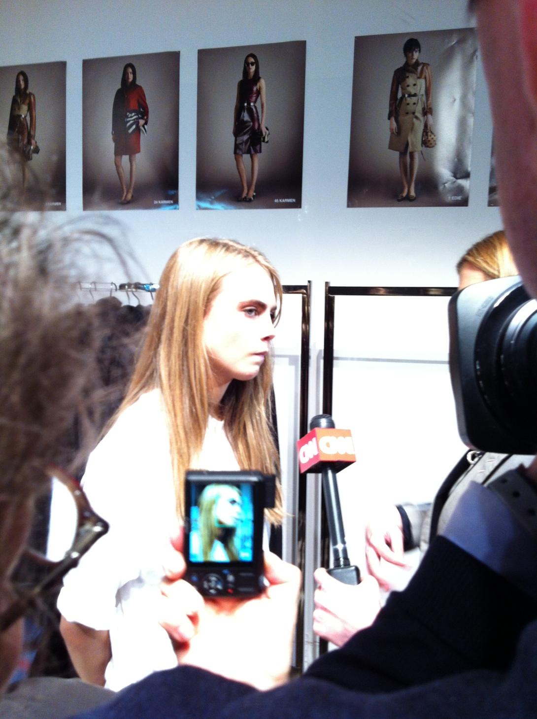Cara Delevigne - After Burberry Prorsum AW Catwalk Show