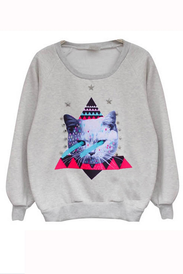 Cat printed sweatshirt