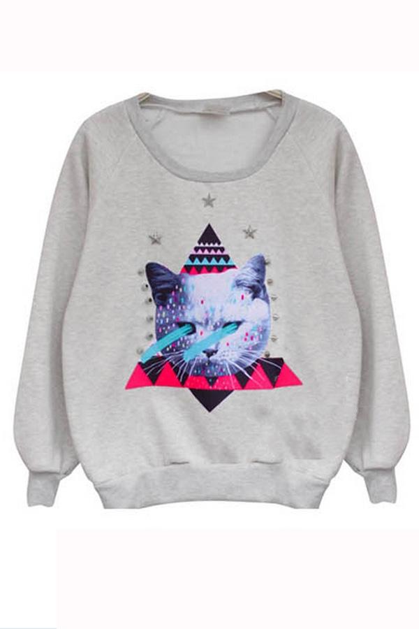Cat printed sweatshirt