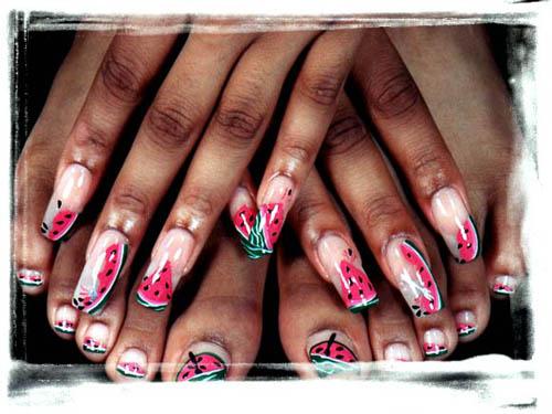 Watermelon nail art / Manicura con diseño sandía