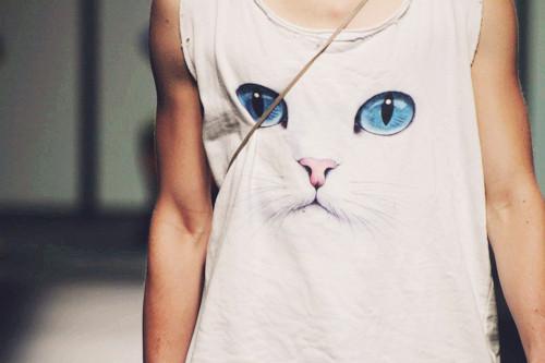 White Cat T-shirt / Camiseta con estampado de un gato blanco