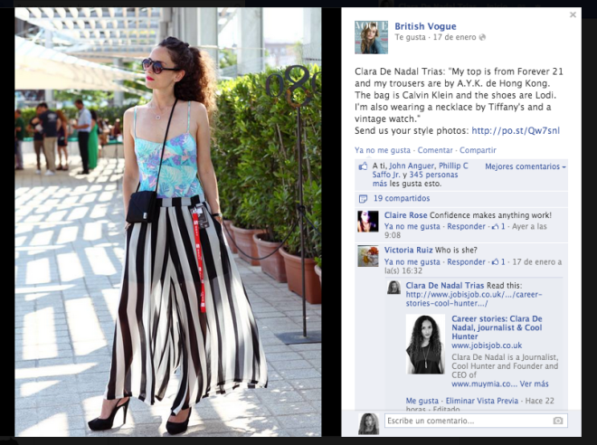 Clara De Nadal Trias (aka muymia) spotted on British VOGUE on January 2014