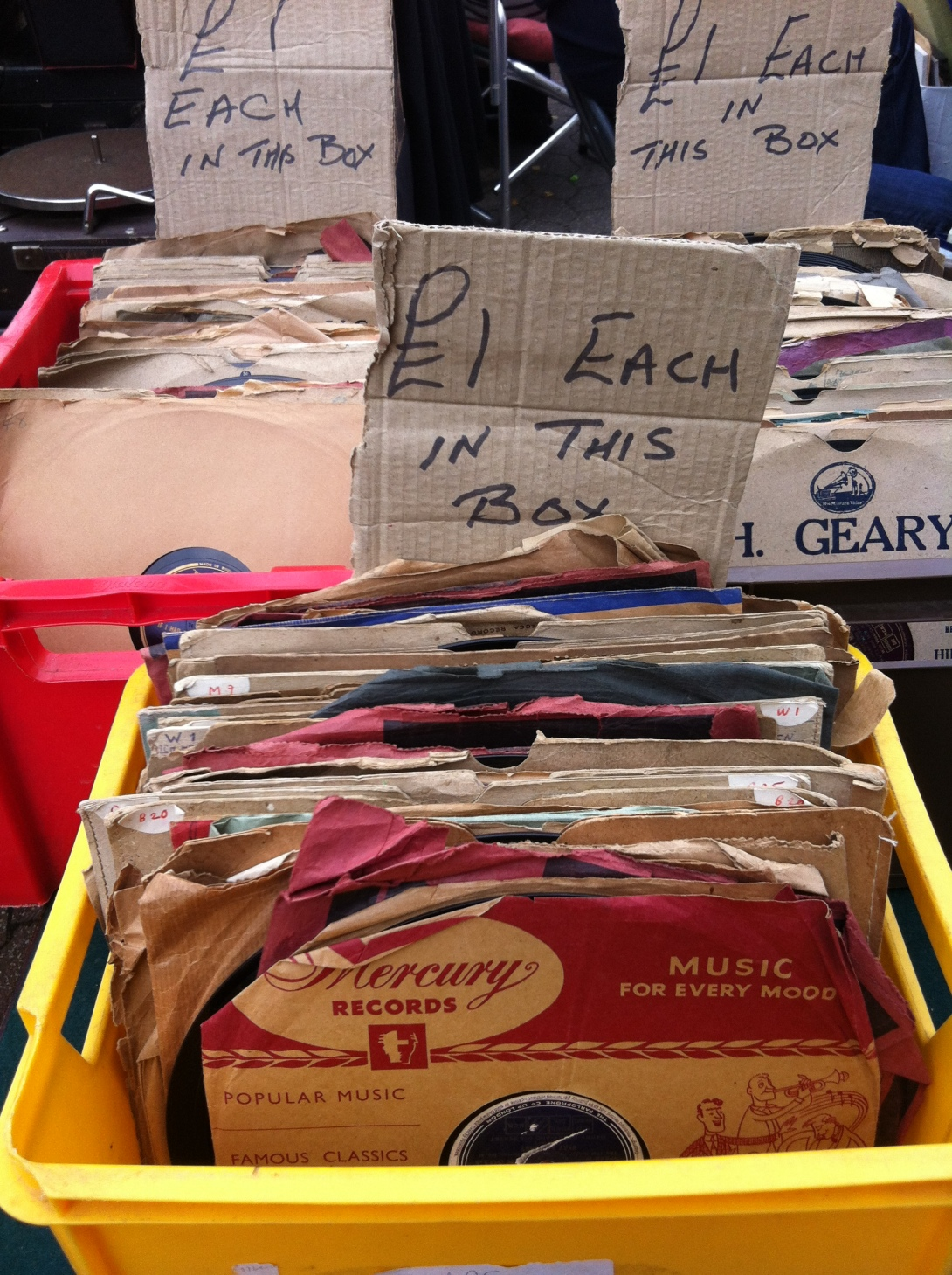 Old vinils £1each at Greenwich Market, Deptford, London