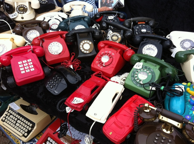 Oldie telephones at Greenwich Market, Deptford, London