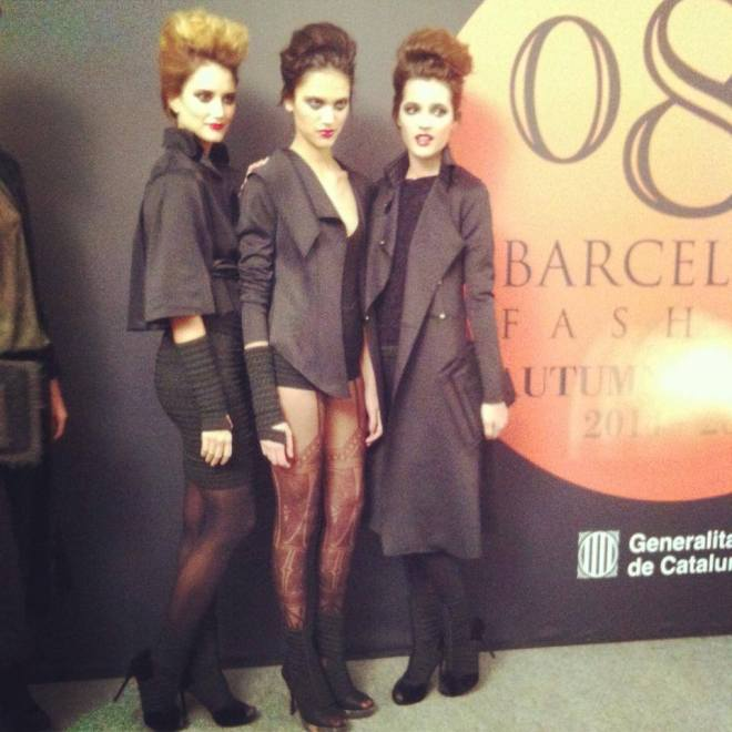 Models dress up with Celia Vela AW14 collection before the show at 080 Barcelona Fashion