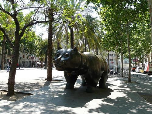 Fernando Botero's Cat at La Rambla del Raval in Barcelona