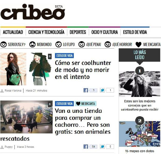 Interview in / Entrevista en cribeo.com