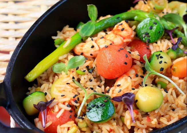 Rice with shrimps / Arroz con gambas