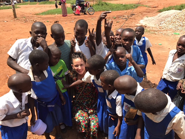 In Kibale with kids in the street