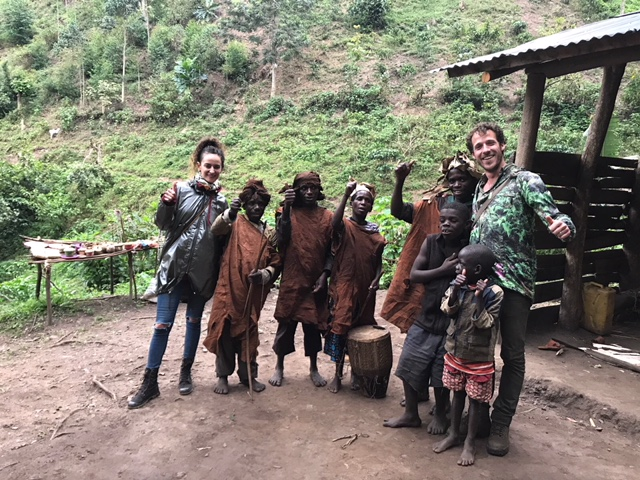 With pygmies in Bwindi, Uganda
